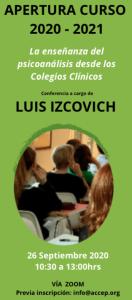 Conferencia Online Apertura Curso Psicoanálisis ACCEP 2020-21